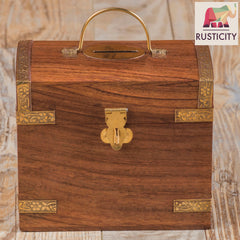 Rusticity Wood Coin bank/Piggy Bank with Latch for Kids and Adults - Treasure Chest design | Handmade | ( 3.5 x 5.2 x 4 )