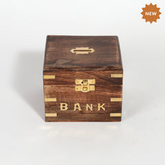 Rusticity® Wooden Piggy Bank, Coin Bank For Kids | Mango Wood| Handmade |(5x5x4 in)