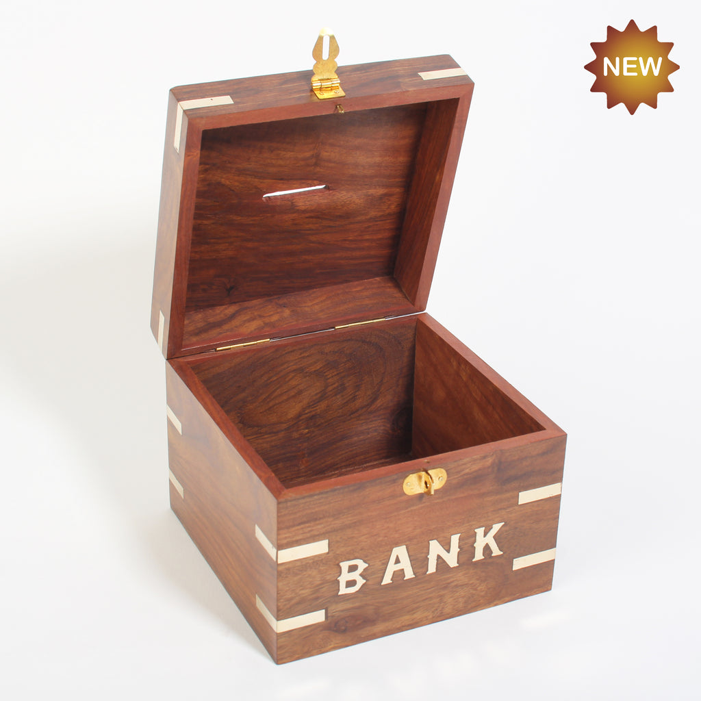 Rusticity® Wooden Piggy Bank, Coin Bank | Sheesham Wood| Handmade |(6x6x5 in)