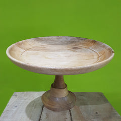 Rusticity Wooden Cake Stand/Dessert Platter for Cup Cake, Fruit, Muffins - 1 Tier | Handmade | (12x12x5.5 in)