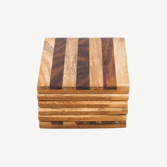 Rusticity Wooden Coaster Set of 6 - Square design | Handmade | (4x4 in)