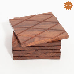 Rusticity Wood Coaster Set of 6 - | Handmade | (4x4 in)