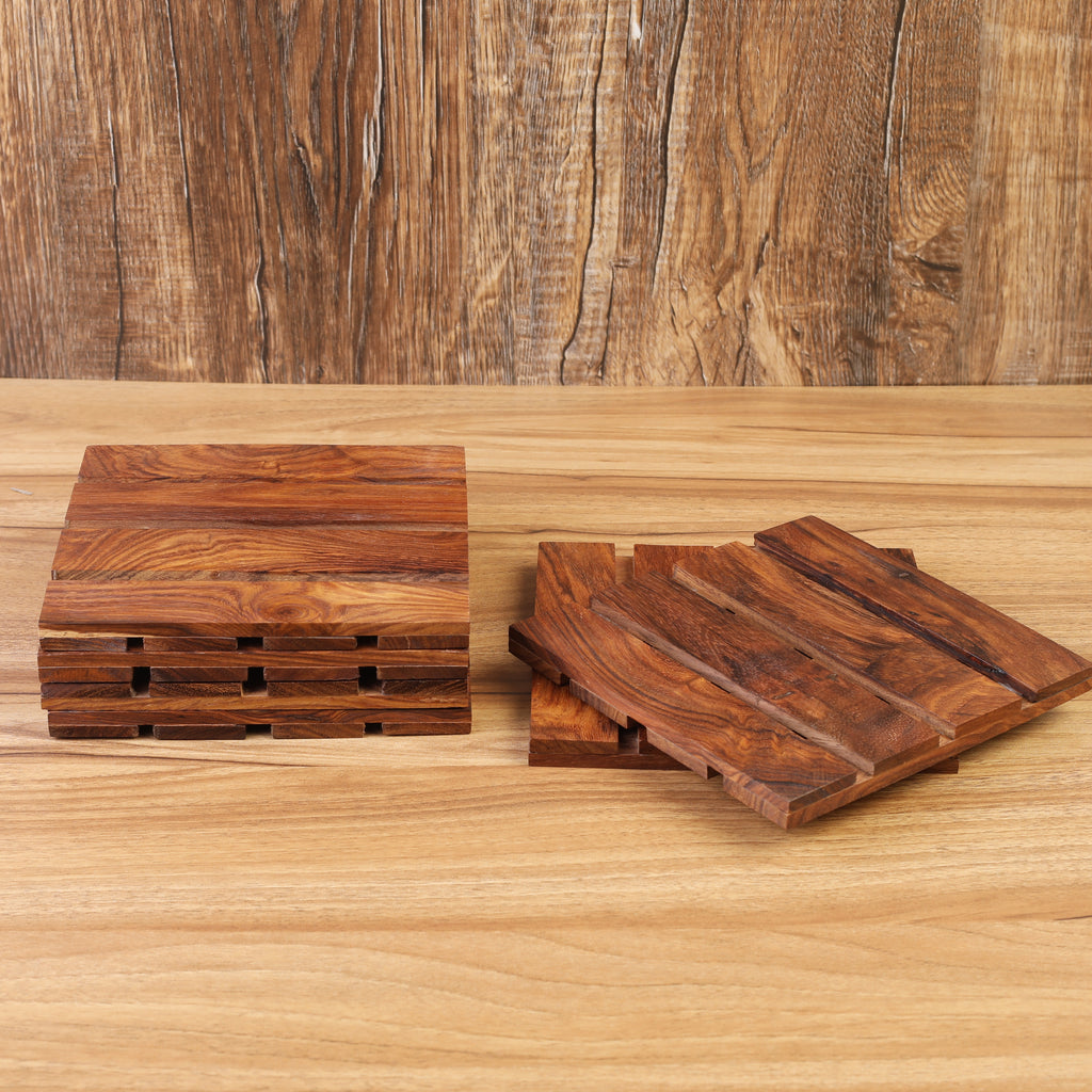 Rusticity® Wood Trivets with Holder - Set of 6 | Sheesham Wood|Handmade | (6x6x2.25 in)