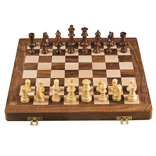 Rusticity Wood Chess Set with Folding Board and Chess Pieces | Handmade | (12x12 in)