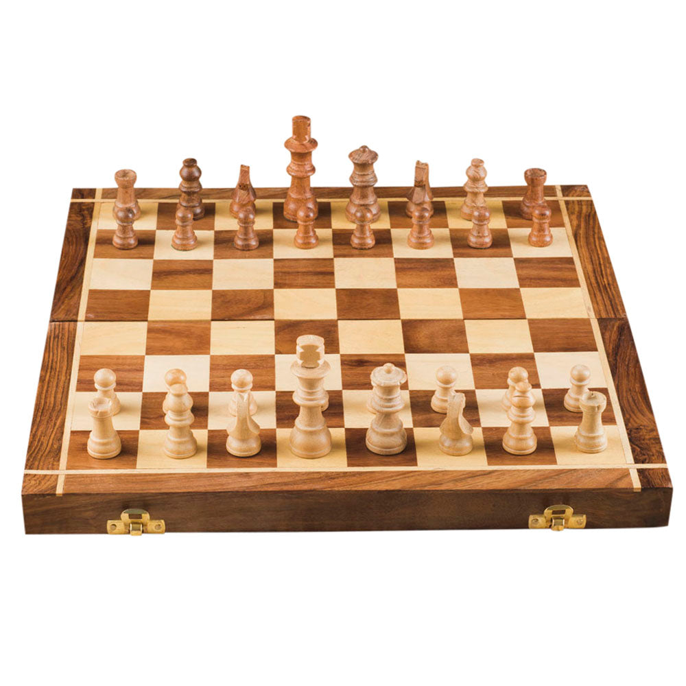 Rusticity Wooden Foldable Chess Set with Chess Pieces| Handmade | (14 inches)