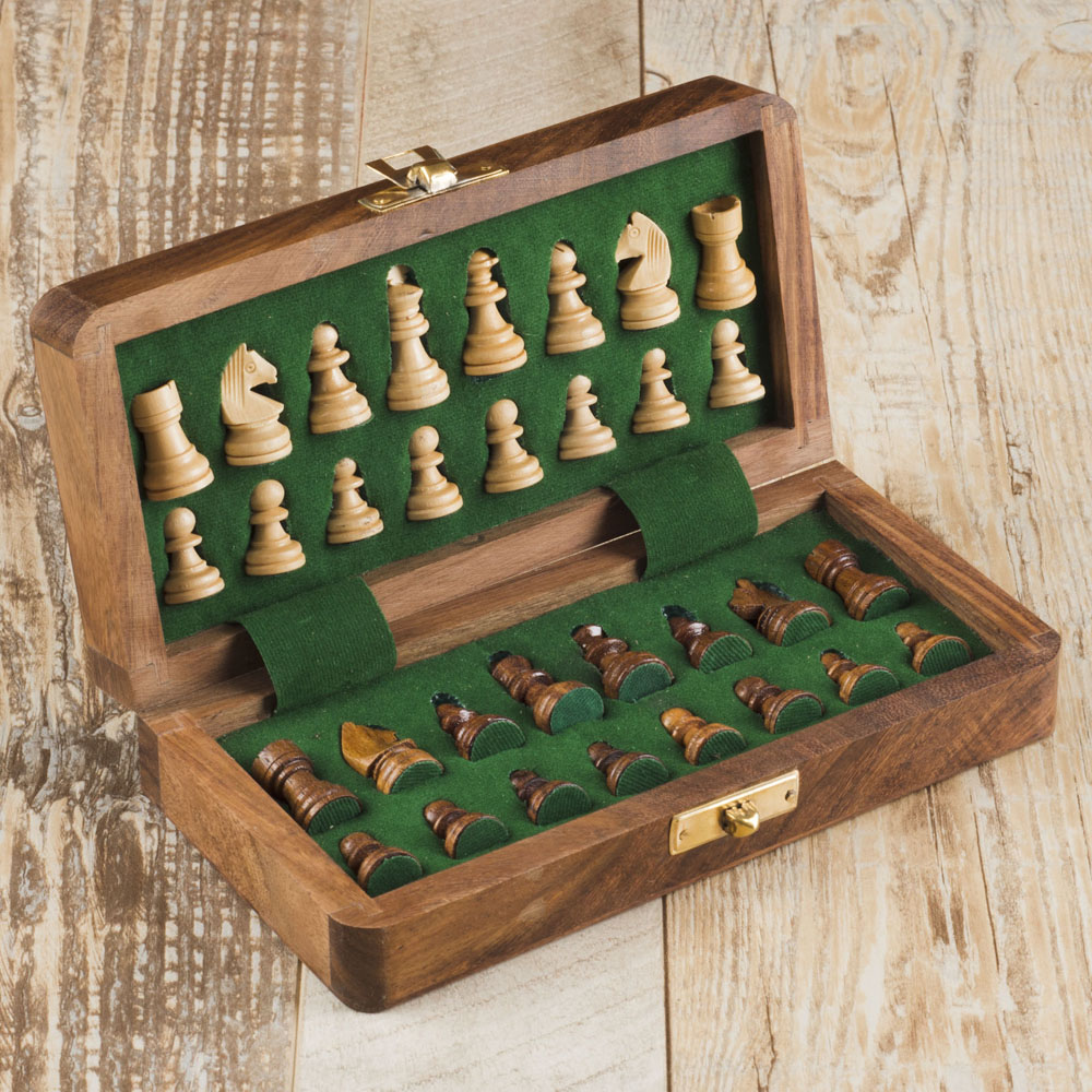 Rusticity Wooden Foldable Chess Set with Chess Pieces in Foam Padding| Non Magnetic Handmade | (12 inches)