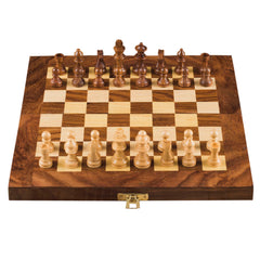 Rusticity Wood Chess Set with Folding Board and Chess Pieces | Handmade | (10x10 in)