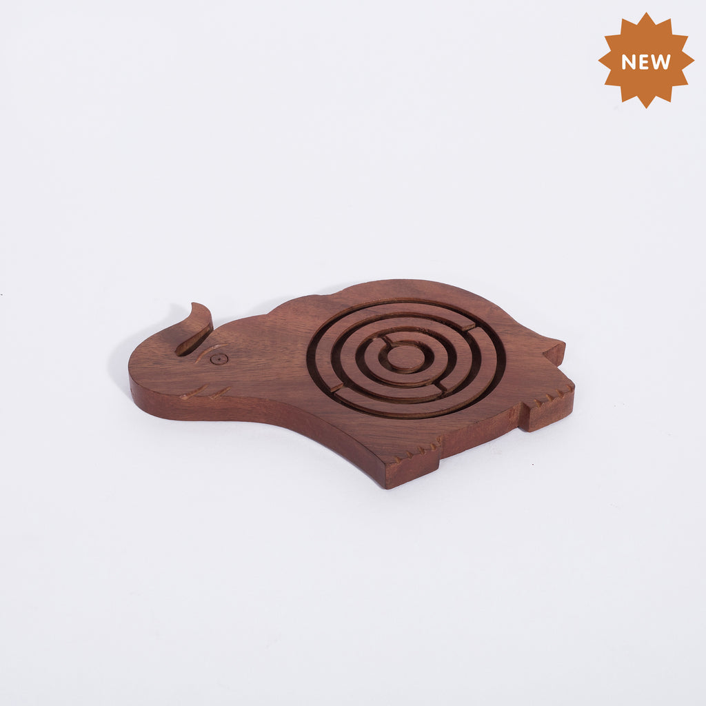 Rusticity Wooden Labrynth Puzzle Game - Elephant Shape| Handmade | (5.5 x 3.5 x 0.5 in)