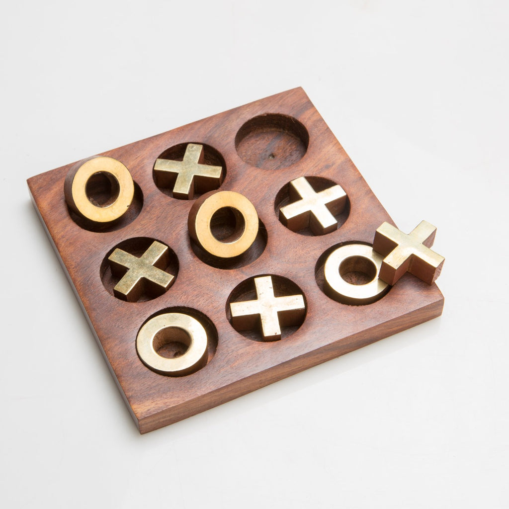 Rusticity Wood Tic Tac Toe Game Board, Board Games for Kids | Handmade | (6x6 inches)