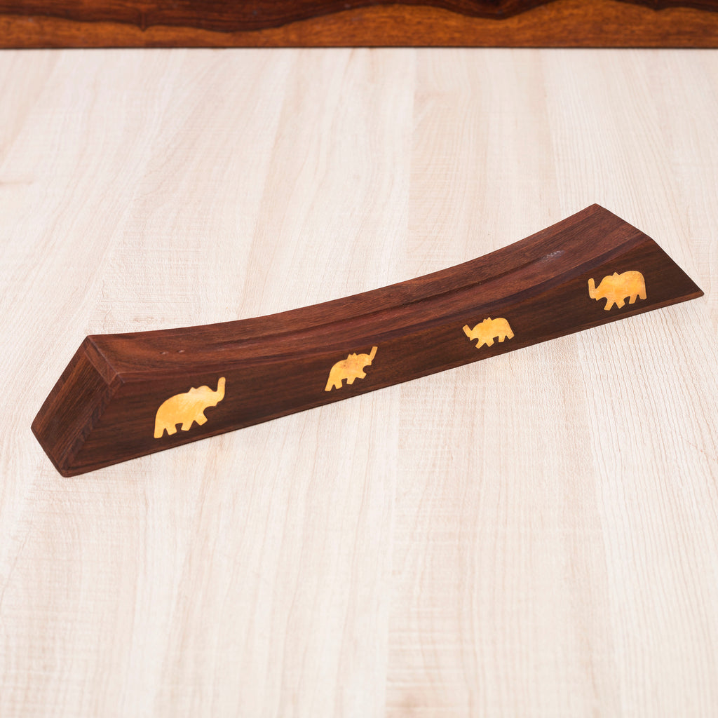 Rusticity Wooden Incense Stand with Incense Sticks Storage Slot | Elephant Brass Inlay | Handmade | (12.4x1.6 in)
