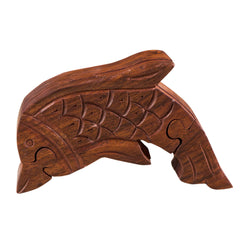 Rusticity Wooden Puzzle Box|Toy Play Box - Dolphin | Handmade | (5.5x3.5 in)