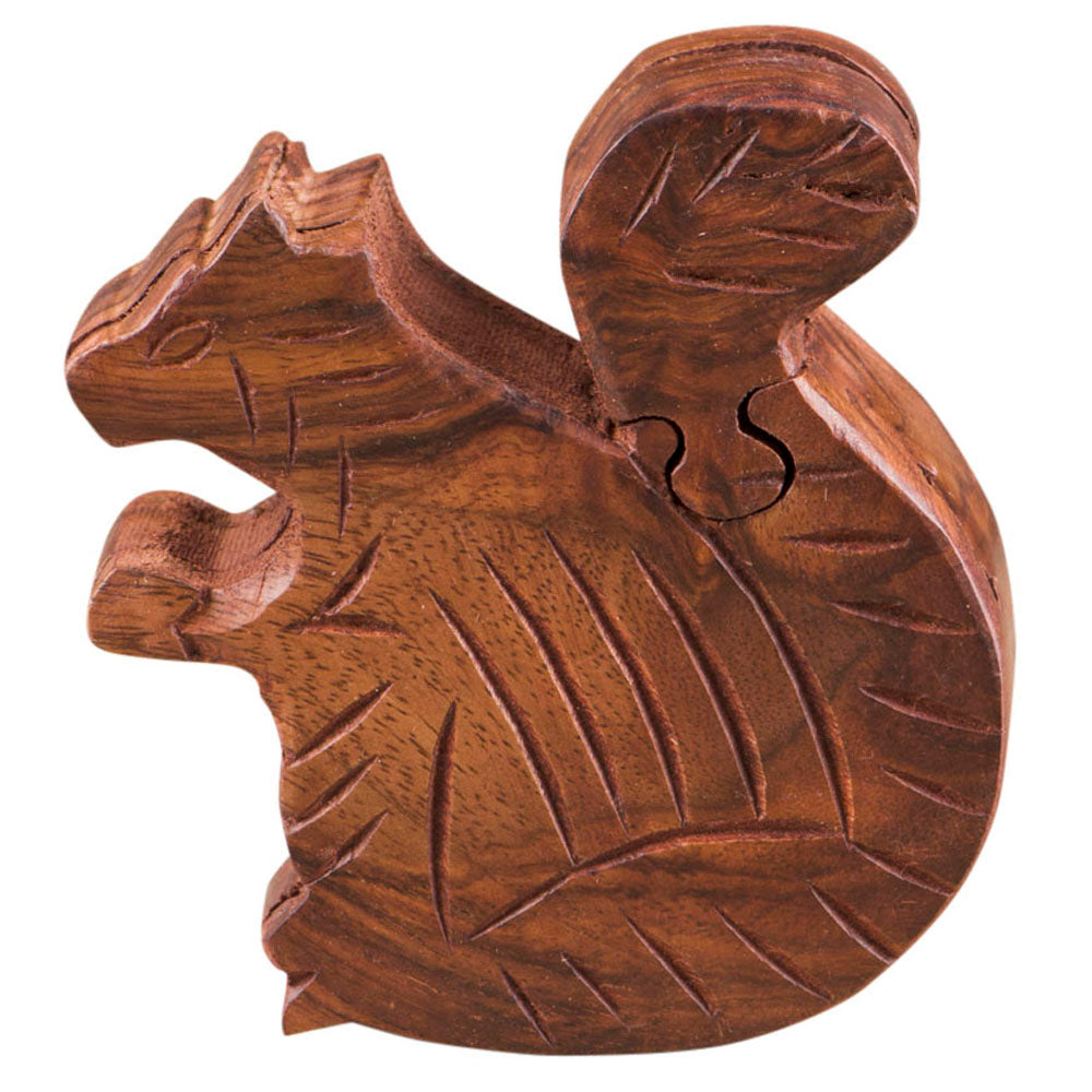 Puzzle Game Box Squirrel Turtle Shape with Secret Storage