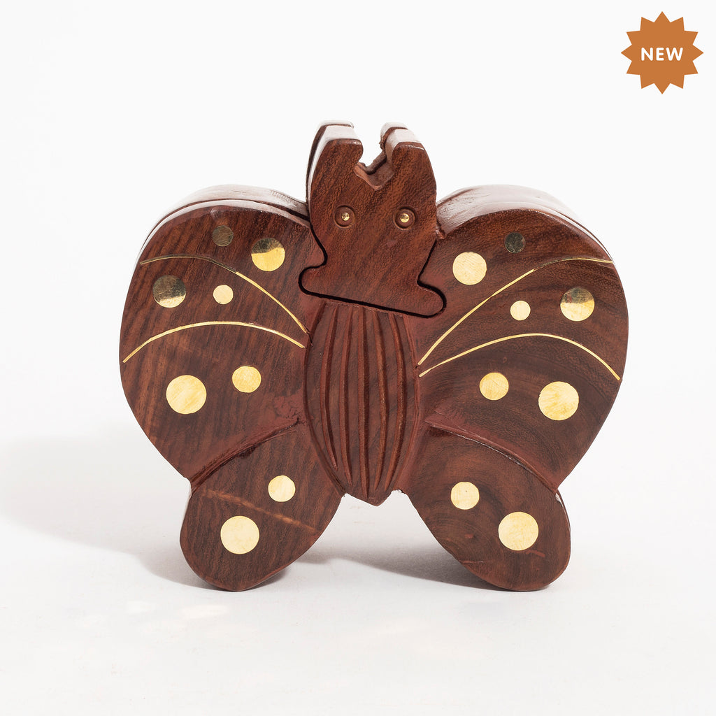 Rusticity Wood Butterfly Shape Puzzle with Brass Inlay| Handmade | (4.5x4.5 in)