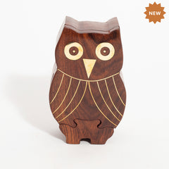 Rusticity Wood Owl Shape Puzzle with Brass Inlay| Handmade | (5.2x3.2 in)