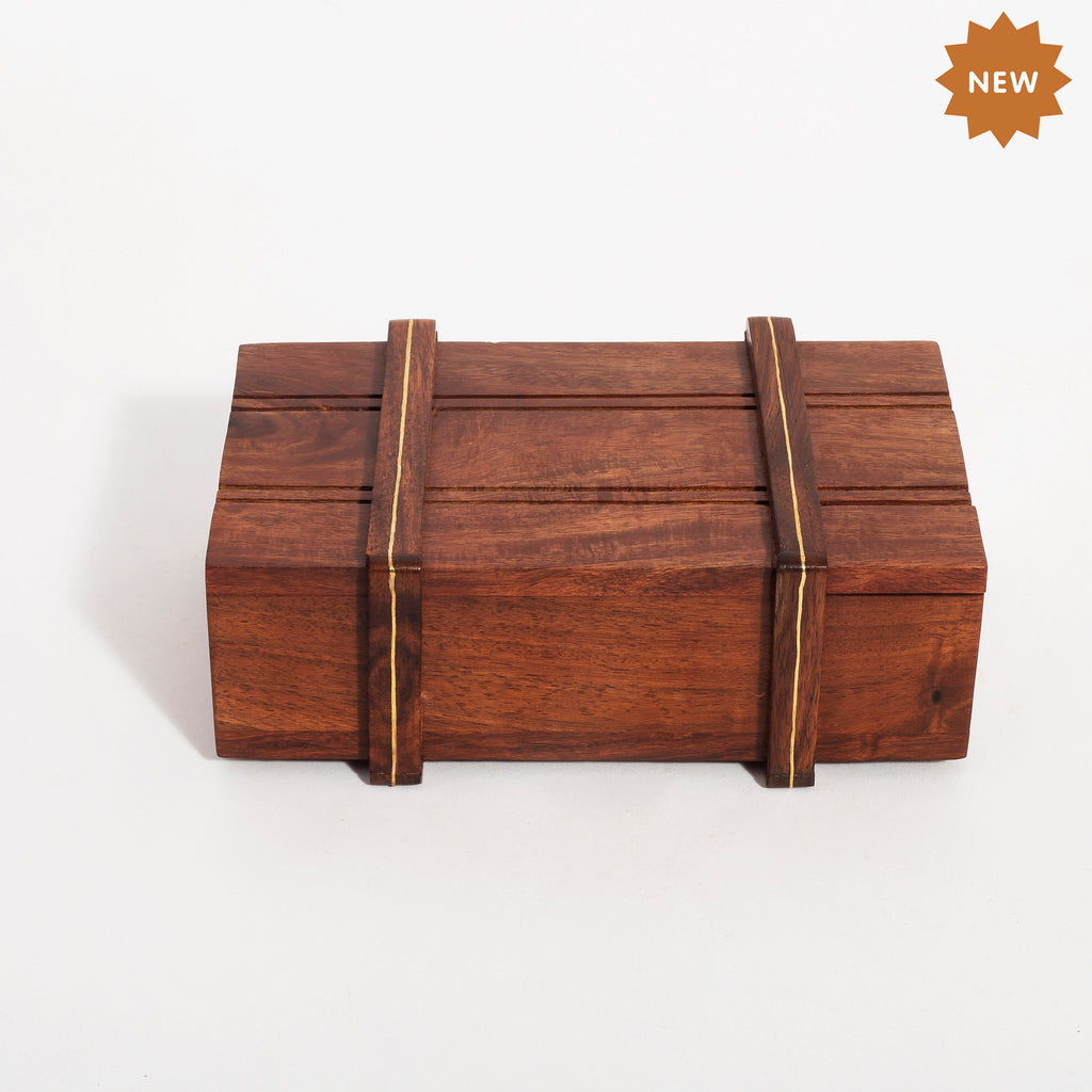 Rusticity Wooden Magic/Mystery Box with Brass Inlay- Large| Handmade|(6x4 in)