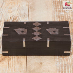 Rusticity Wooden Playing Cards Holder with Set of 5 Dice - Black | Handmade | (7x4.5x2 in)