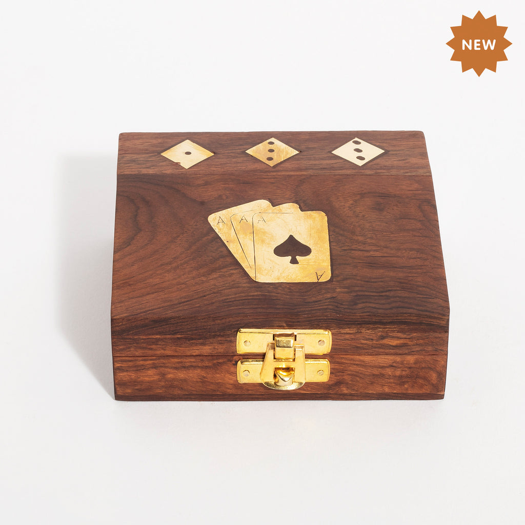 Rusticity Wooden Vinatge Card Holder/Deck Holder for Playing Cards with Dice Box - Brown|Handmade|(4.3X 4.3 in)