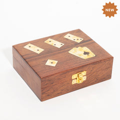 Rusticity Wooden Vinatge Card Holder/Deck Holder for Playing Cards with Dice & Dominoes Box - Brown|Handmade|(6.3x5 in)