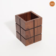 Rusticity Wooden Pencil/Pen Holder for Desk, Office and Home | Handmade | (3 in x 3 in x 4 in)