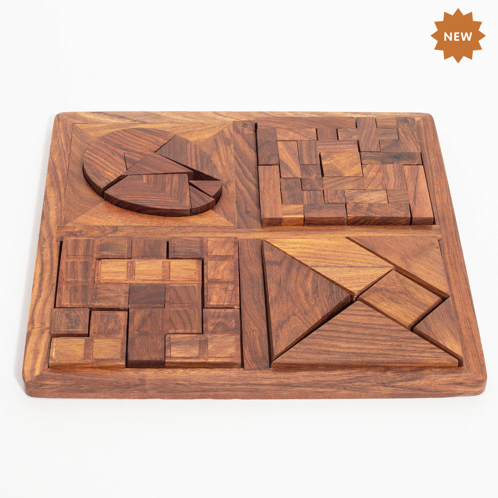 Rusticity Wooden Brain Teaser Tangram Puzzle for Kids and Adults- Set of 4| Handmade | (9.7x9.7 in)