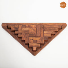 Rusticity Wood Triangle Tangram Puzzle Game 9 Piece | Handmade | (11.6 x 6.4 x 0.6 in)