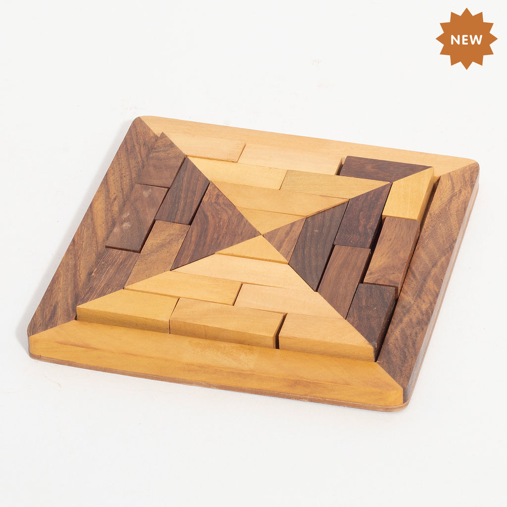 Rusticity Wooden Brain Teaser Tangram Puzzle for Kids and Adults| Handmade | (5.1x5.1 in)