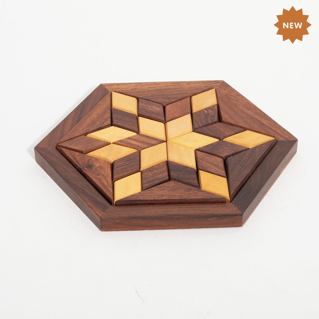 Rusticity Wooden Brain Teaser Tangram Puzzle for Kids and Adults-Flower Shape| Handmade | (5.1x5.1 in)