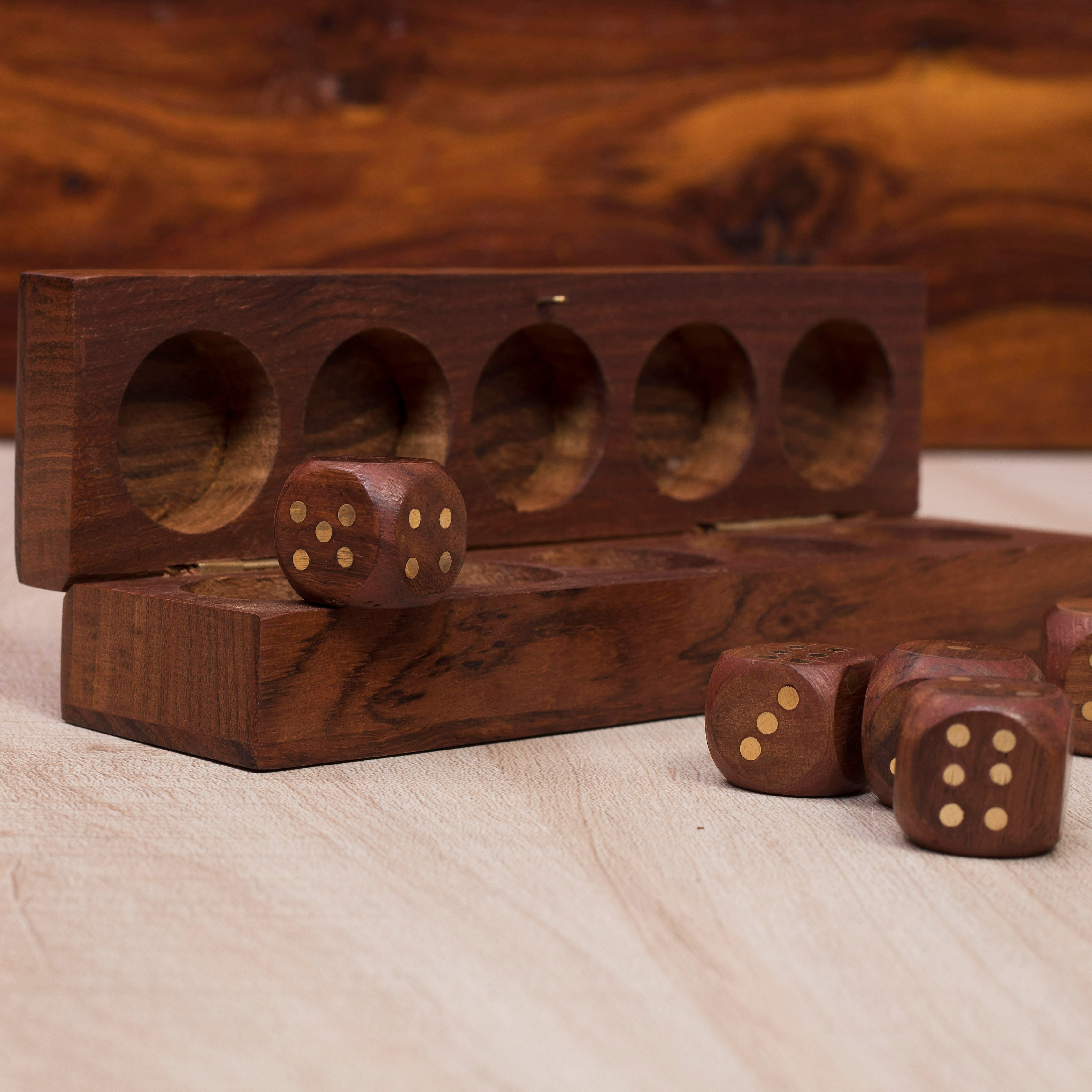 6.2x1.4 in Handmade Rusticity/® Wooden Dice Set of 5 with Holder Box