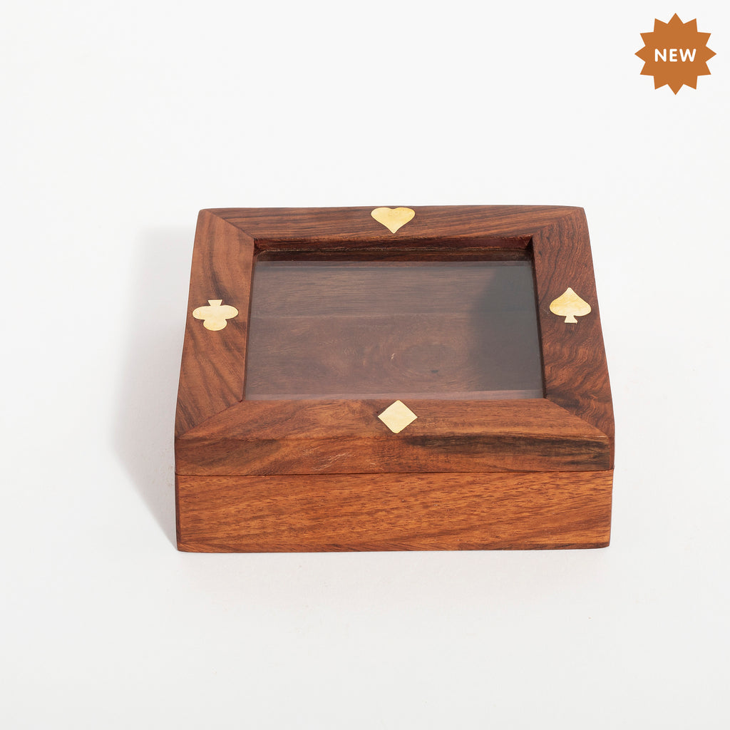 Rusticity Wooden Dice Set of 5 & Single Card Holder Box | Handmade |(4.4x4.4 in)