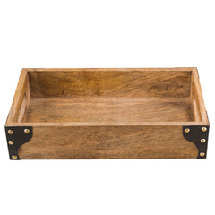 Wood Tray With Leather Cover Medium