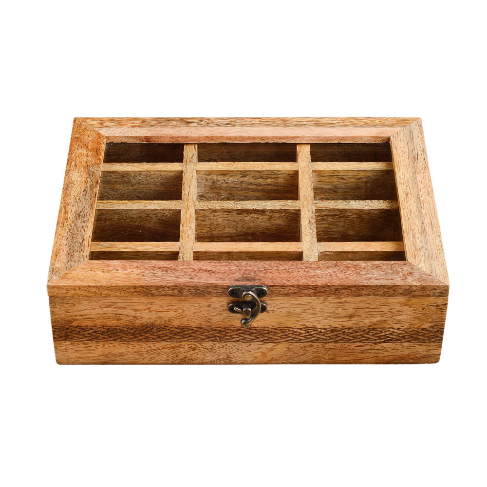 Rusticity Wooden Tea Box/Spice Organizer with Transparent Lid - 12 Slots | Handmade | (11x8 in)