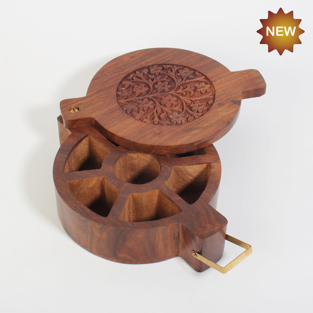 Rusticity® Wooden Spice Box, Tea Storage Box | Sheesham Wood| Handmade |(8.75x6.5x2.25 in)