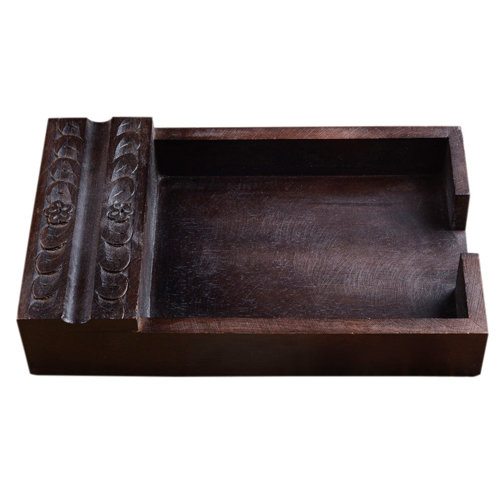 Painted Paper Tray With Carving