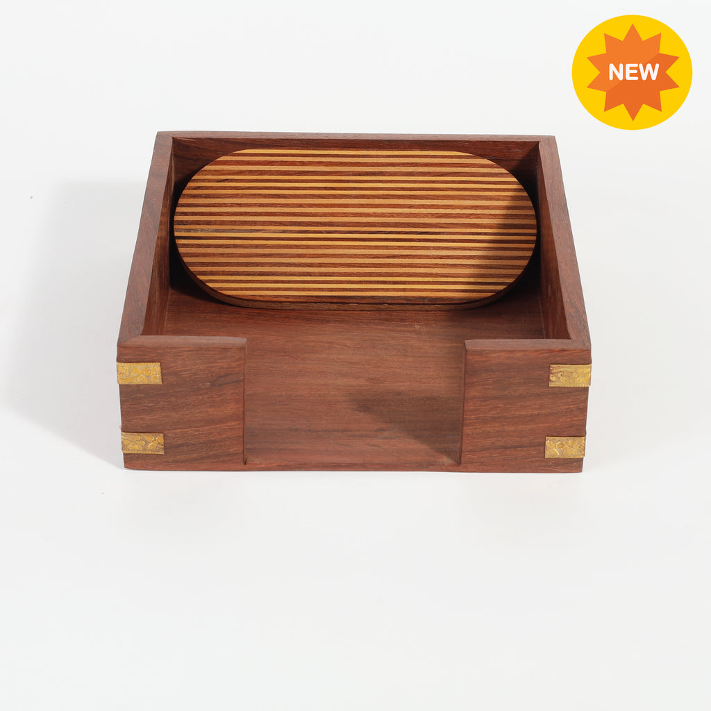 Rusticity® Wood Paper Napkin Holder for Napkin and Tissues - Line Design|Sheesham Wood| Handmade | (7x7.5x2 in)