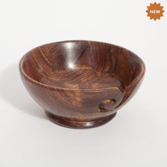 Rusticity Wooden Yarn Bowl/Knitting Bowl/Crochet Holder | Handmade | (5.8 x 5.8 x 3.2 in)