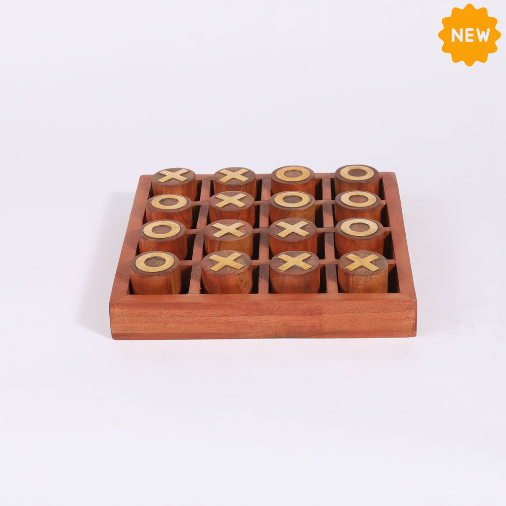 Rusticity® Wooden Tic Tac Toe Game Board |Tun Wood| Handmade |(8x8x1.5 in)