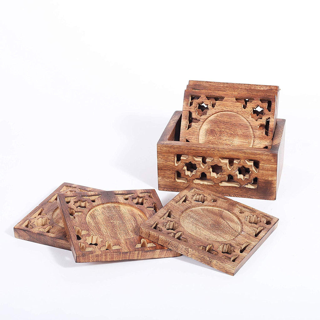 Rusticity Wood Coaster Set of 6 with Holder for beer and other drinks - antique design (4x4 in)