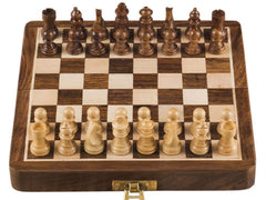 Rusticity Wooden Foldable Magnetic Chess Set | Handmade | (7 inches)
