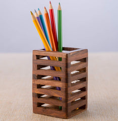 Rusticity Pen / Pencil Holder Wood Mesh Design for Desk, Office, and Home | Handmade | (2.5x2.5 in)