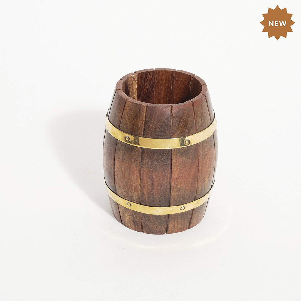 Rusticity Wooden Pen Stand - Barrel shape| Handmade | (3.8x3.5x4.1 in)