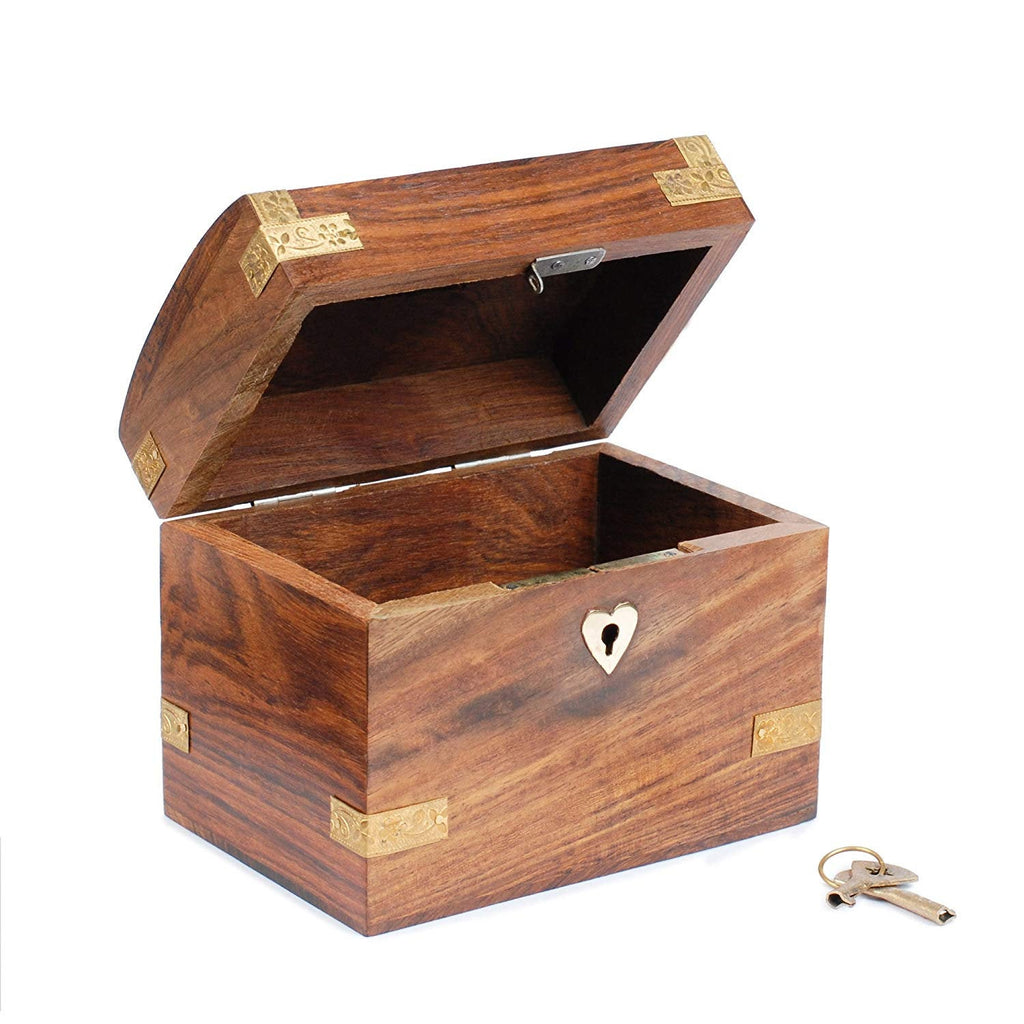Rusticity Wood Coin Bank for Kids and Adults - Treasure Chest design | Handmade | (5.25x3.25 in)