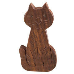 Rusticity Wooden Mystery Puzzle Box - Cat | Handmade |