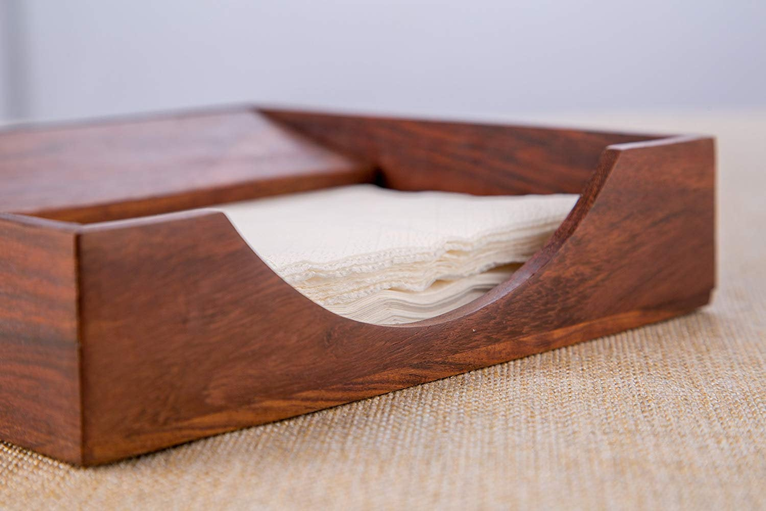 Rusticity Wood Paper Napkin Holder For Napkin And Tissues Sleek Desi Rusticity