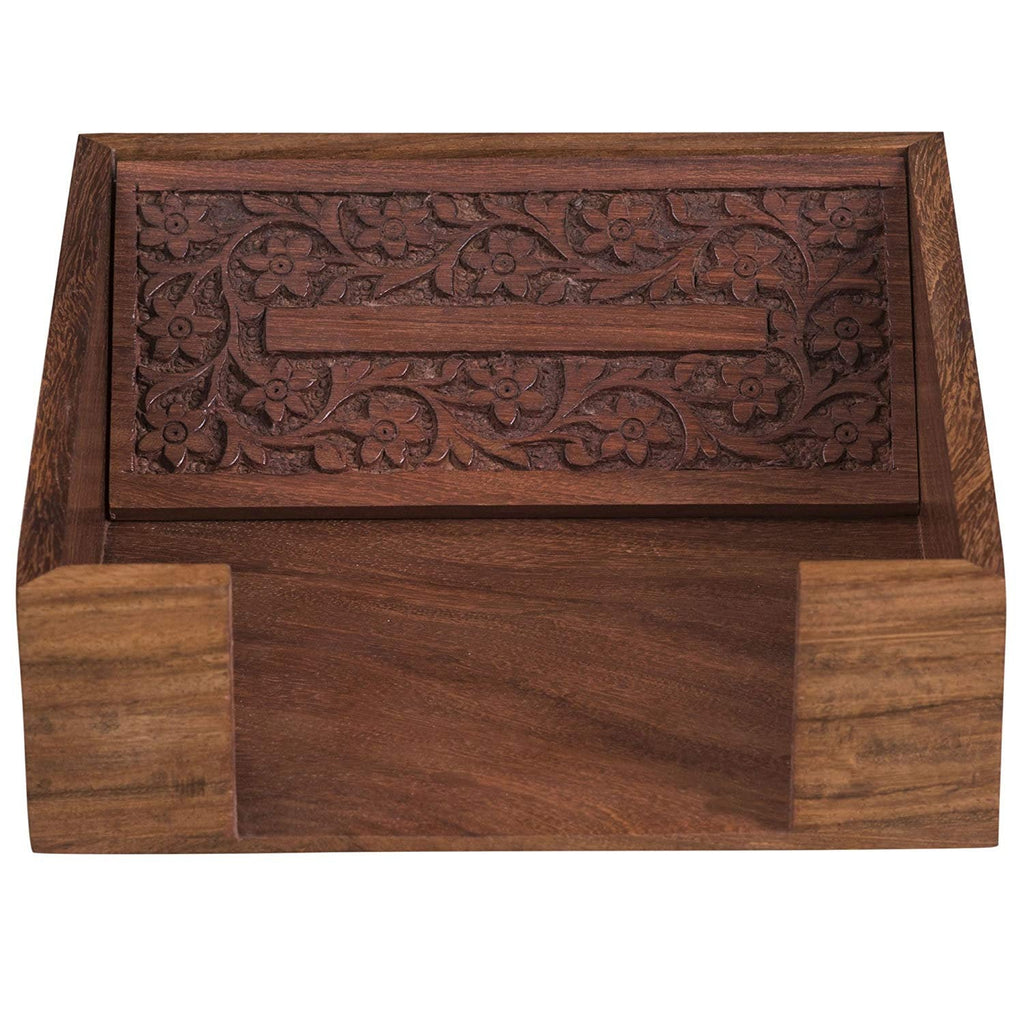 Rusticity Wood Paper Napkin Holder for Napkin and Tissues - Sleek Design |Handmade -Carved|(7x7.5in)