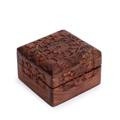 Rusticity Wood Jewelry Box Decorative - Ornate design | Handmade | (4x4 in)