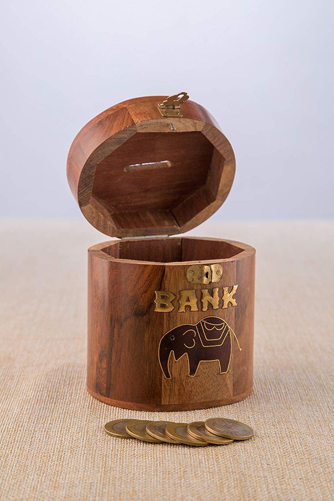 Rusticity Wood Piggy Bank for Kids and Adults - Elephant Design| Handmade | (4x4 in)