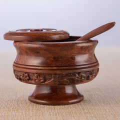 Rusticity Wooden Sugar Bowl with Lid and Spoon | Handmade | (4x4in)