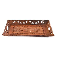 Rusticity Wood Serving Tray Platter- Large carved| Handmade | (15x10 inch)