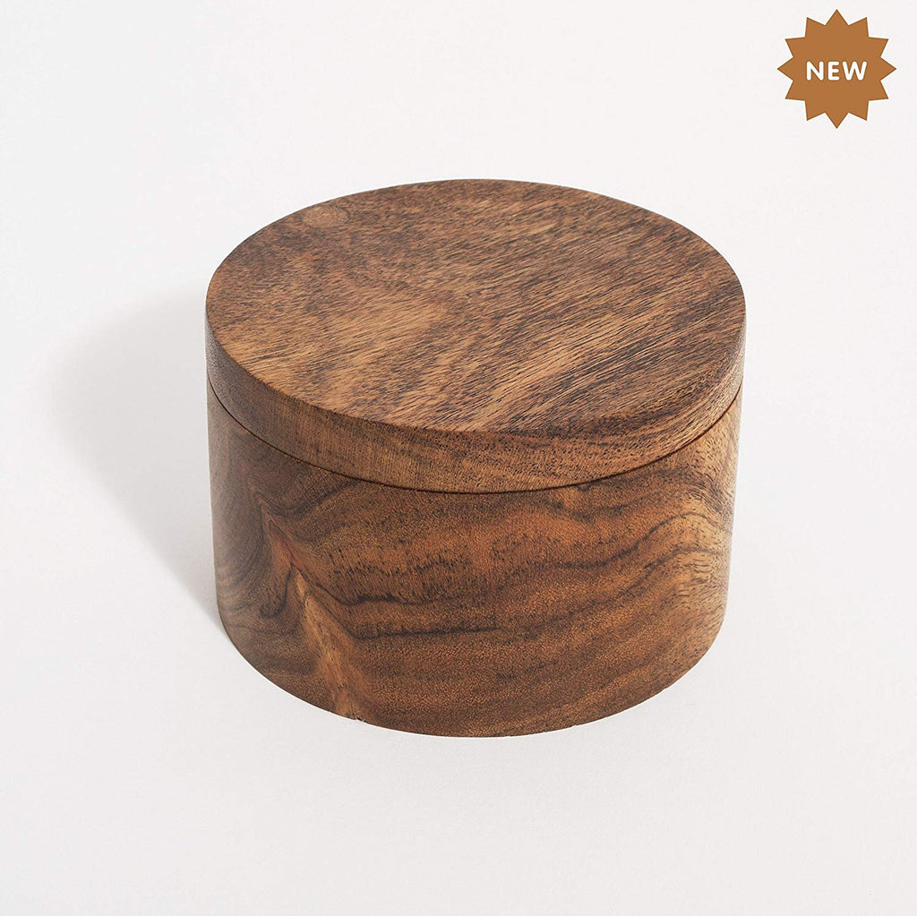 Rusticity Wooden Salt Box - Kitchen or Dining Table Spice and Herb Container(Set of 2) | Single Compartment for Salt, Spices, Herbs, Seasoning & more|Acacia Wood|Handmade|(3.75x3.8 in)