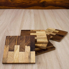 Rusticity Wooden Coaster Set of 6 - Square Design | Handmade | (3.7x3.7 in)